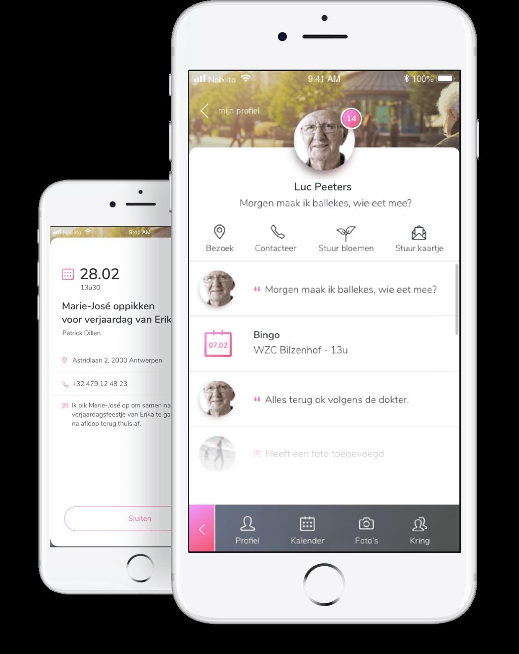Afbeelding van Noblito app in een smartphone